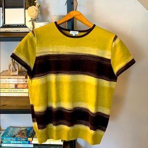 Akris Punto - green & black striped tee - size 14